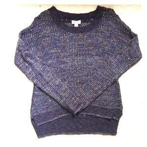 Navy Crochet Back Sweater